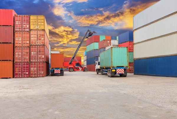 forklift at dockyard with beautiful sky